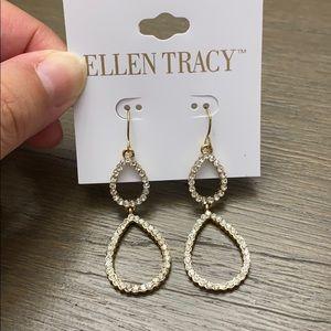 New! Ellen Tracy gold/clear stones drop earrings.